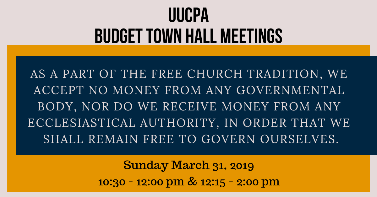 UUCPA Budget Town Hall Meeting