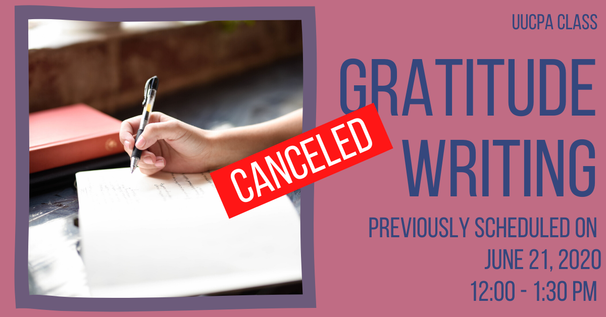 Gratitude Writing - Canceled