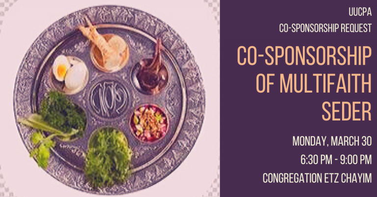 Notice of Request for Co-Sponsorship of Multifaith Seder
