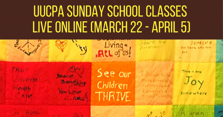 Sunday school classes going online (March 22 - April 5)