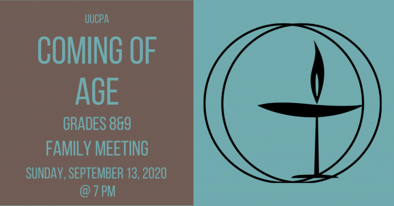 Coming of Age family meeting on Sept. 13, 2020