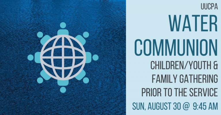 Family check-in gathering before intergenerational Water Communion on August 30, 2020