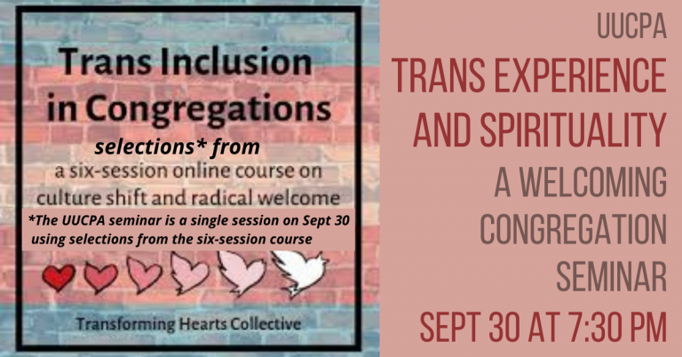 Trans Experience and Spirituality: A Welcoming Congregation seminar - Sept 30