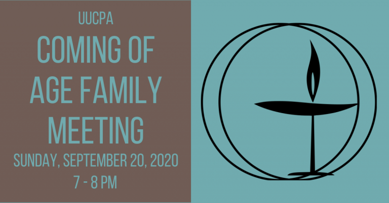 Coming of Age program for gr. 8-10 - Family meeting on Sept. 20