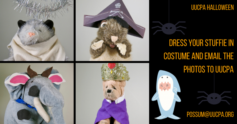 Kids, send photos of your stuffie in costume for UUCPA Halloween