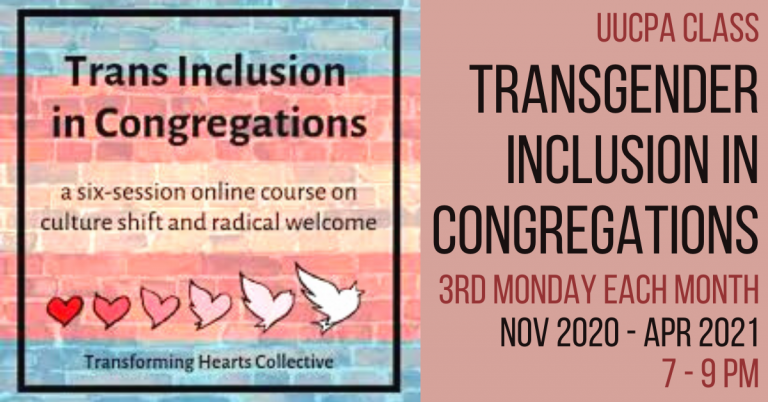 Transgender Inclusion in Congregations Meets Mon, 3/15
