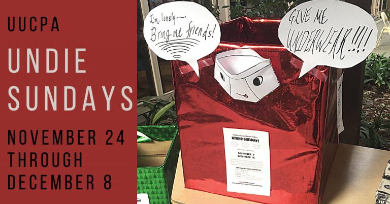 Undie Sundays – Donations requested through Dec 8