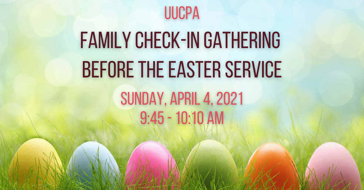 Family check-in gathering before the Easter Service