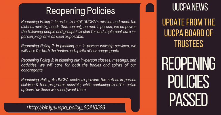 Update from the UUCPA Board of Trustees -Reopening Policies Passed!