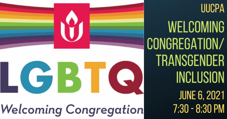 Welcoming Congregation / Transgender Inclusion Next Steps - Jun 6 @ 7:30 pm