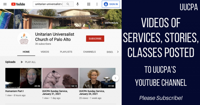 Videos of services, stories, classes posted