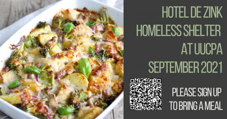 The Hotel de Zink Homeless Shelter at UUCPA during the month of Sept 2021 - a couple more dinners needed