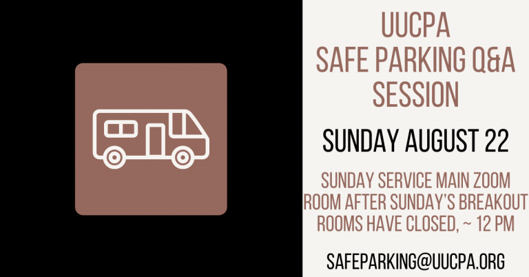Safe Parking Q&A Session on Sunday August 22